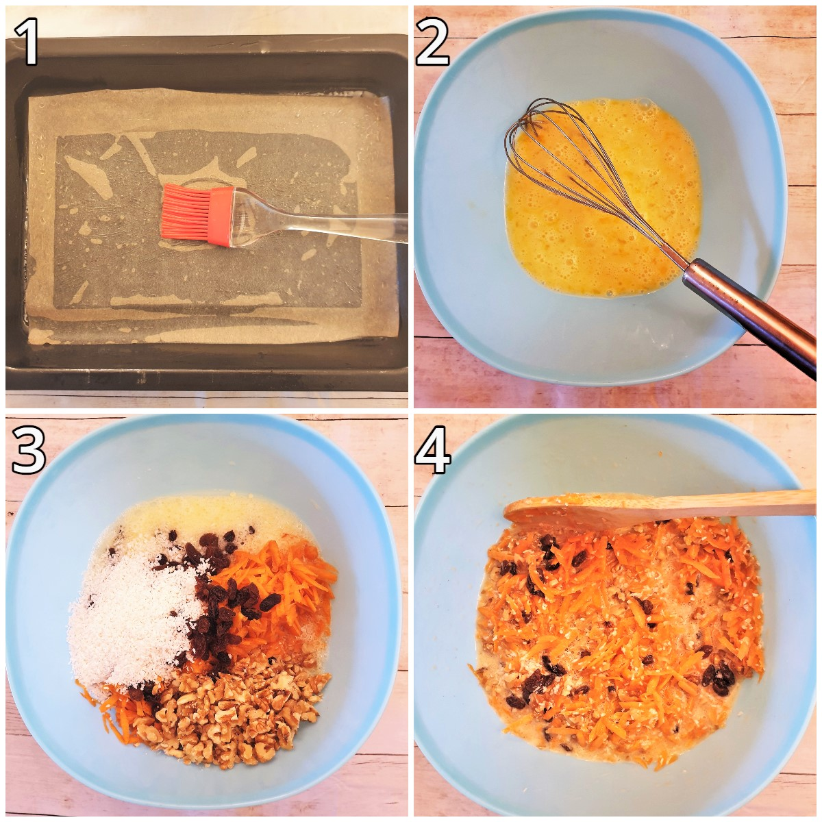 Steps for mixing the wet ingredients.