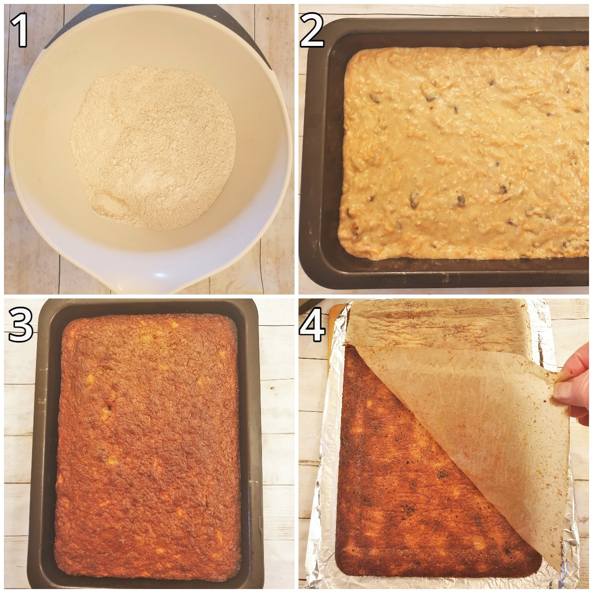 Steps for baking the cake and removing the baking parchment.