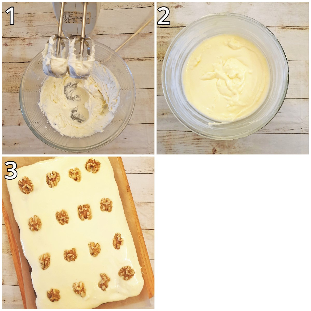 Steps for making the frosting and decorating the cake.