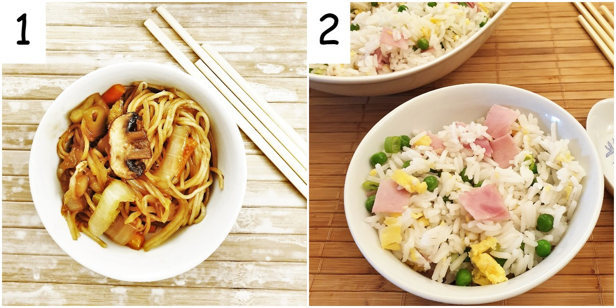 A bowl of vegetable chow mein and a bowl of egg fried rice.