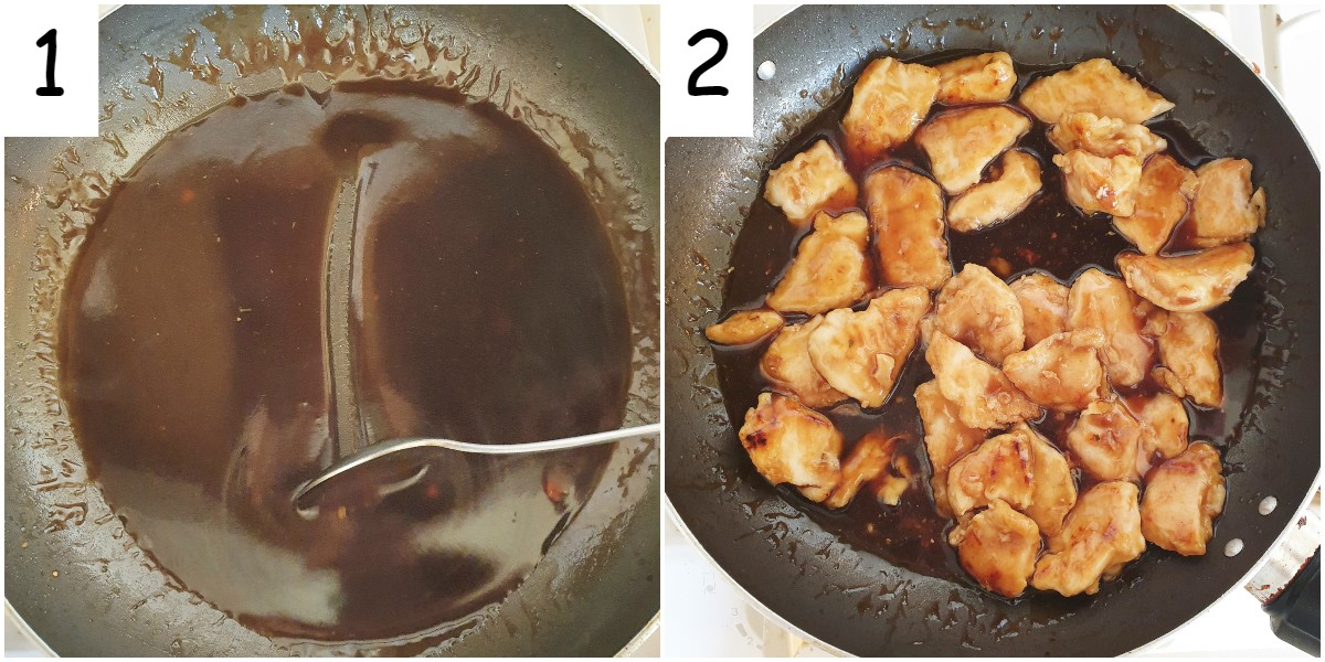 Steps for making the sauce and coating the chicken.