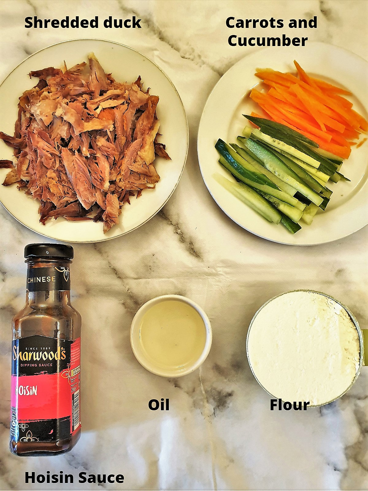 Ingredients for crispy hoisin duck pancakes