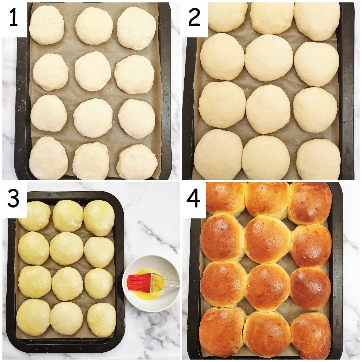 Steps for shaping the rolls and baking.