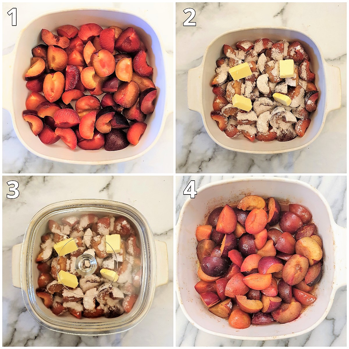Steps for stewing the plums.