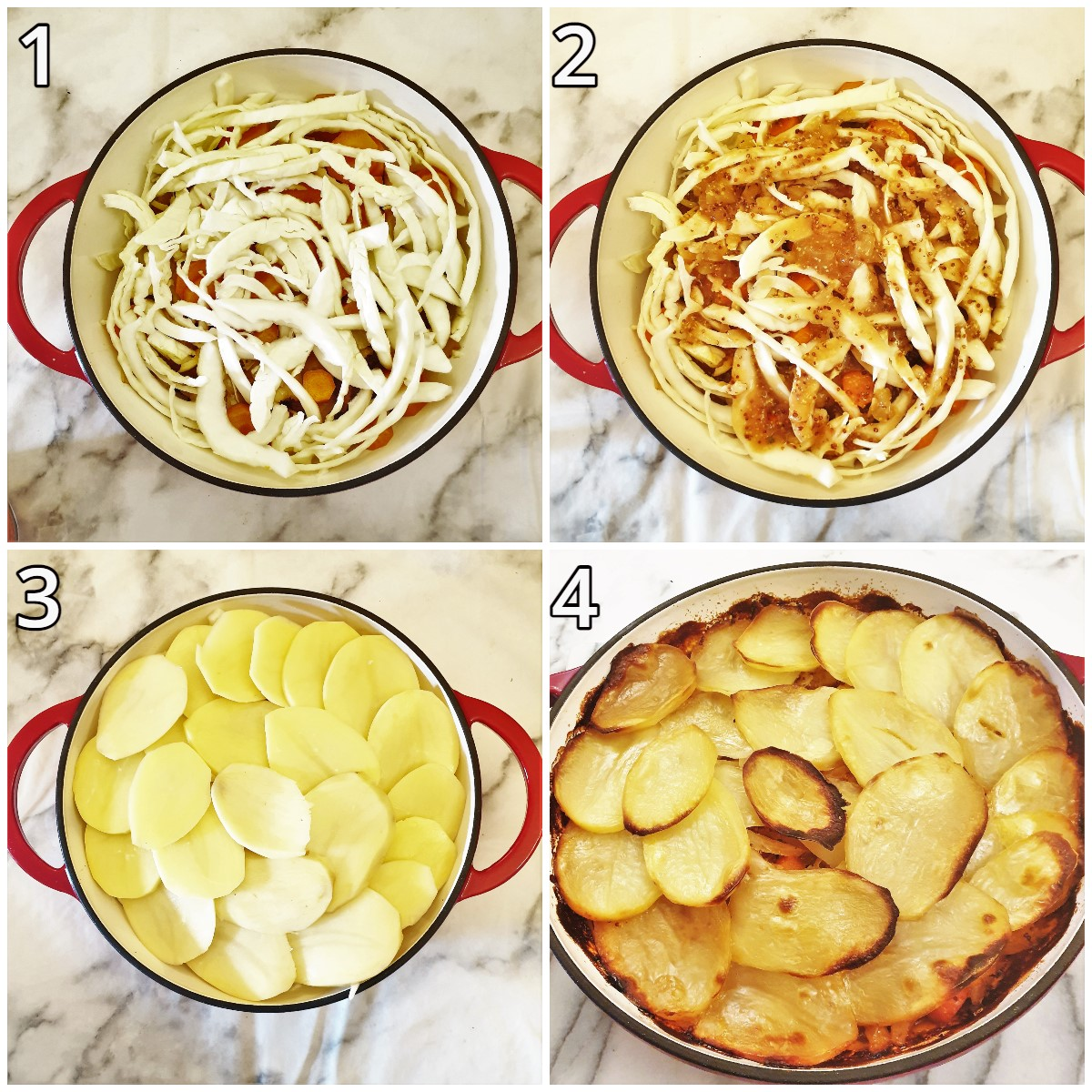 Steps for adding the cabbage and gravy and covering with sliced potatoes.