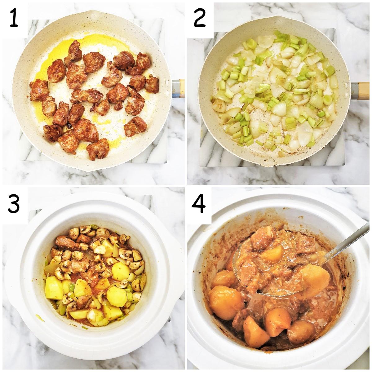 Steps for making slow-cooker pork casserole.