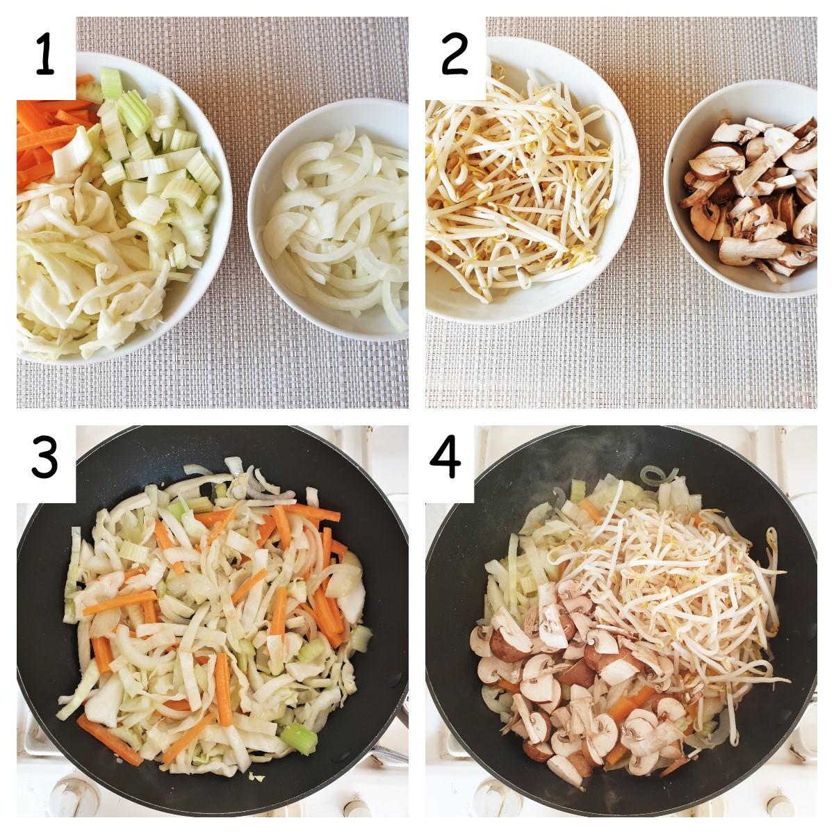 Steps for preparing the vegetables.