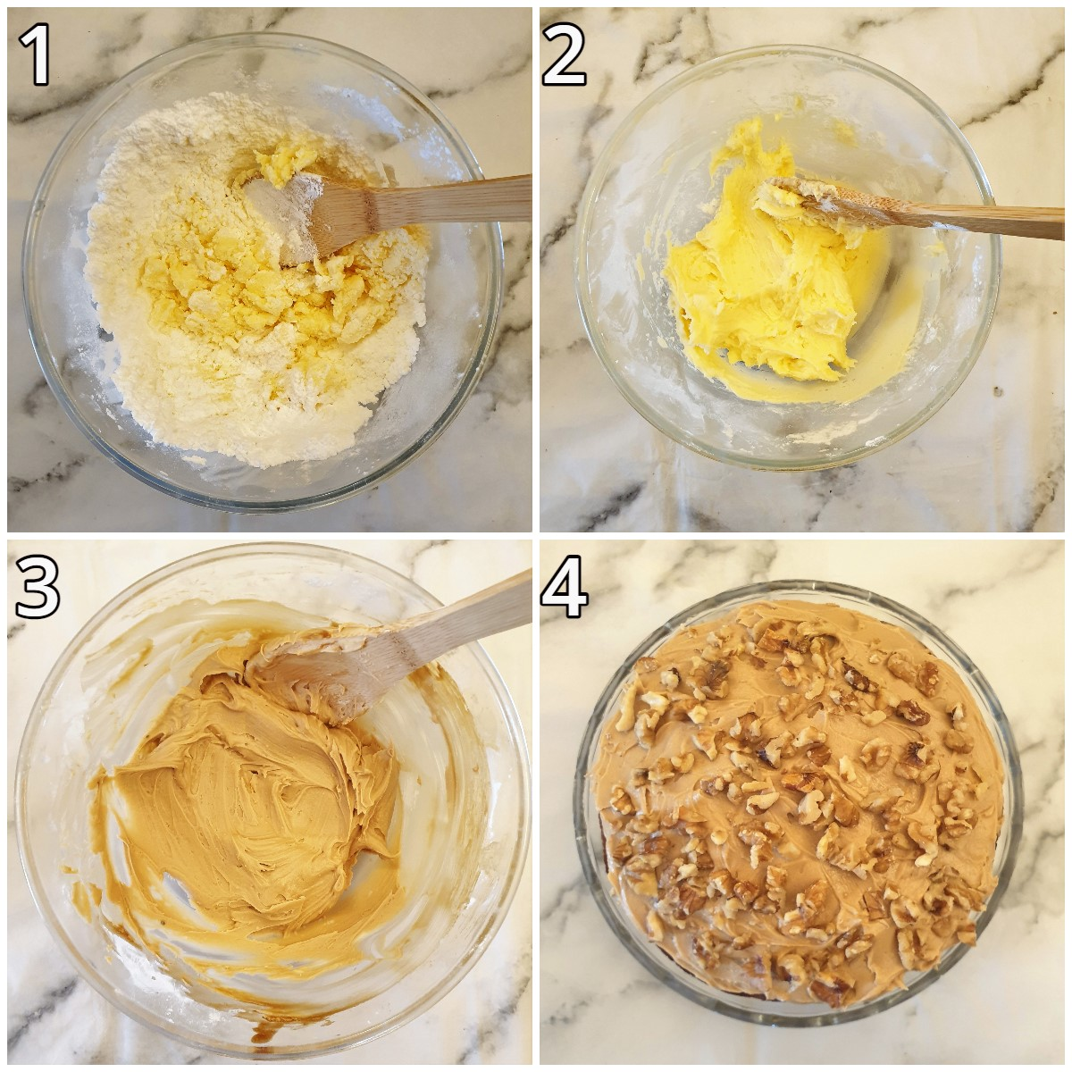 Steps for making the coffee buttercream.