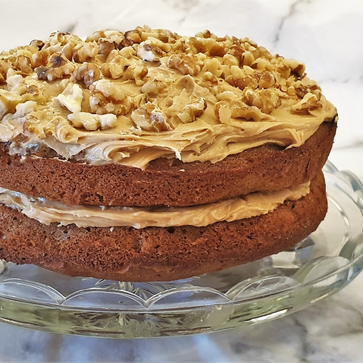 Closeup of a coffee walnut cake.