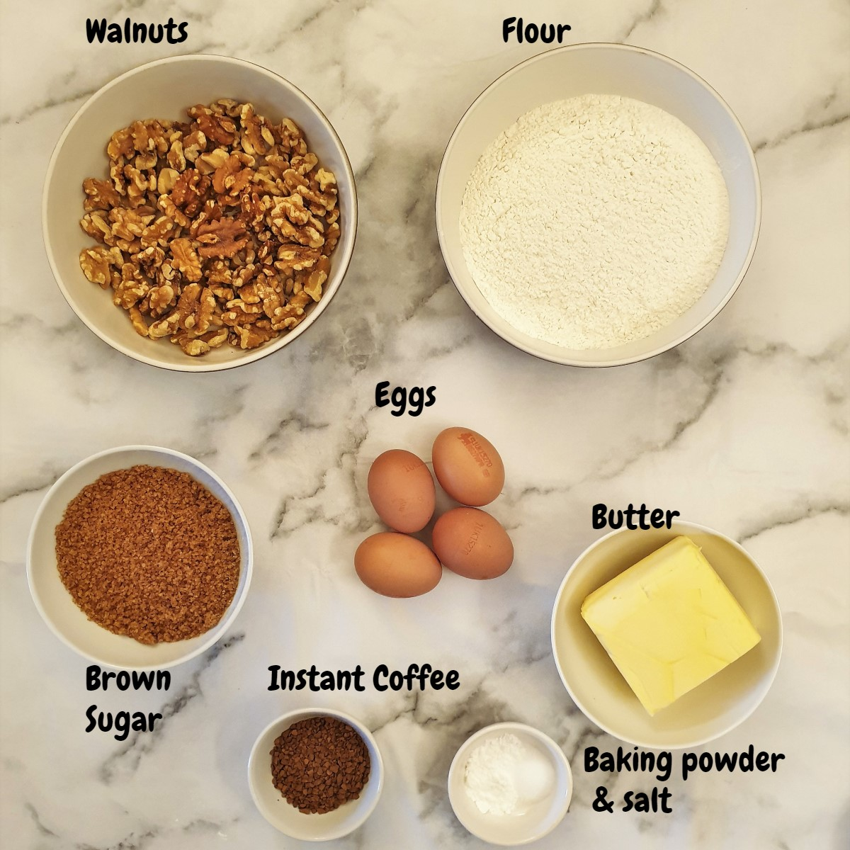 Ingredients for coffee walnut cake.
