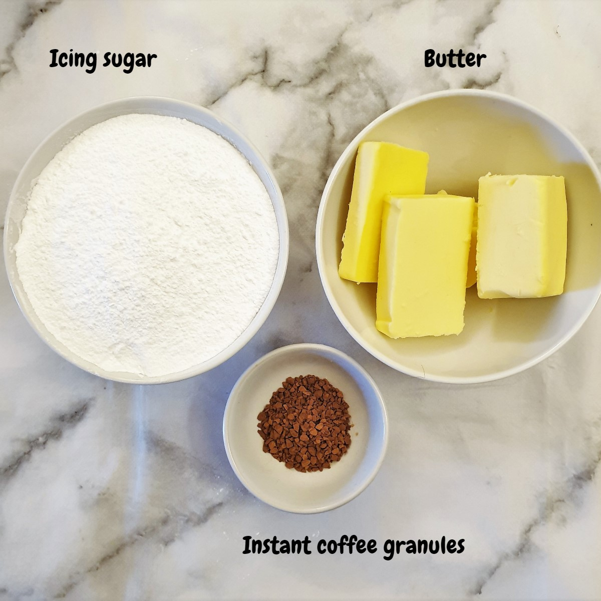 Ingredients for coffee buttercream frosting.