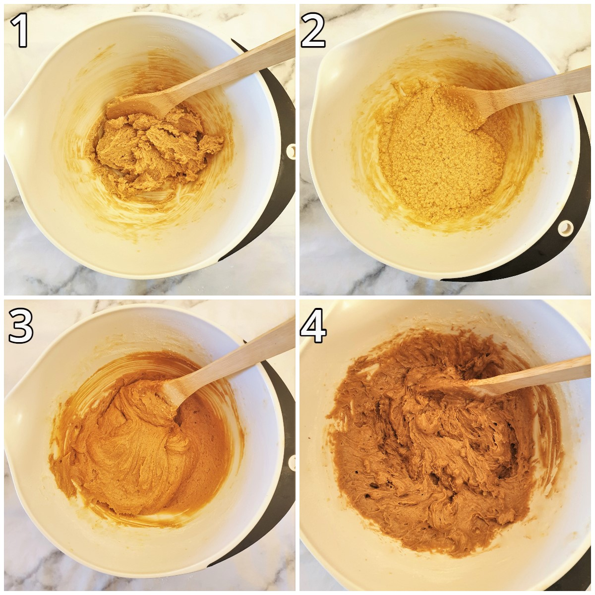 Steps for mixing the coffee walnut cake.