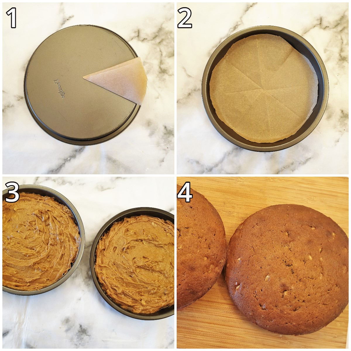 Steps for lining the baking pans and baking the cake.