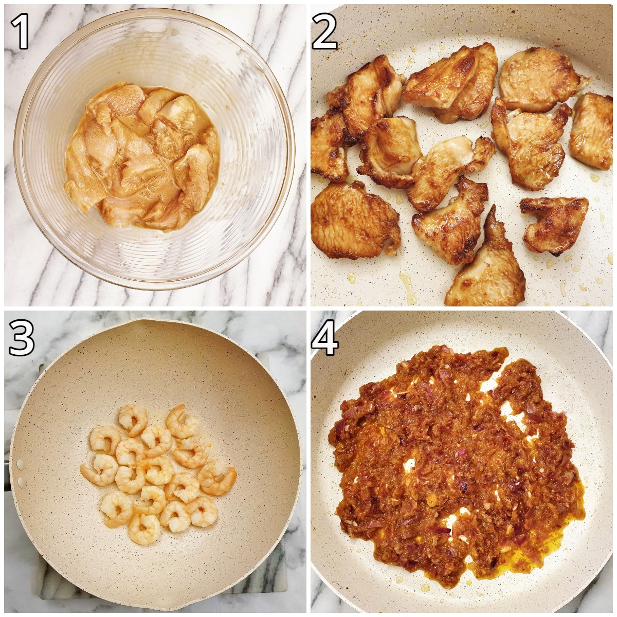 Steps for frying the chicken and prawns.
