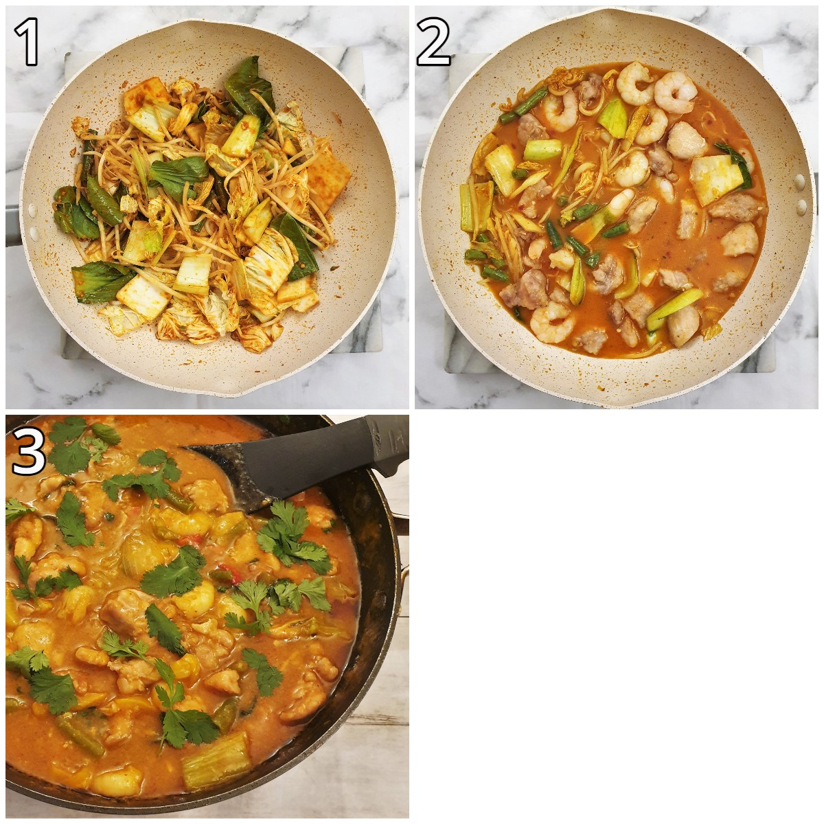 Steps for making Thai red curry.