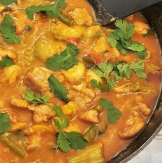 Close up of a pan of Thai red curry sprinkled with coriander.