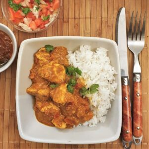 Overhead shot of a bowl of chicken tikka masala.