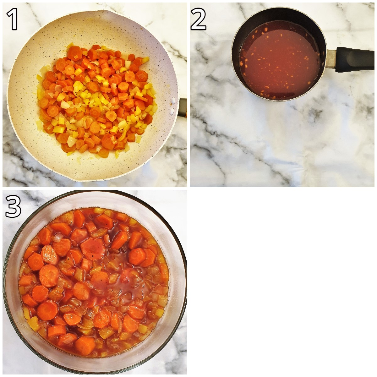 Steps for making copper penny salad.
