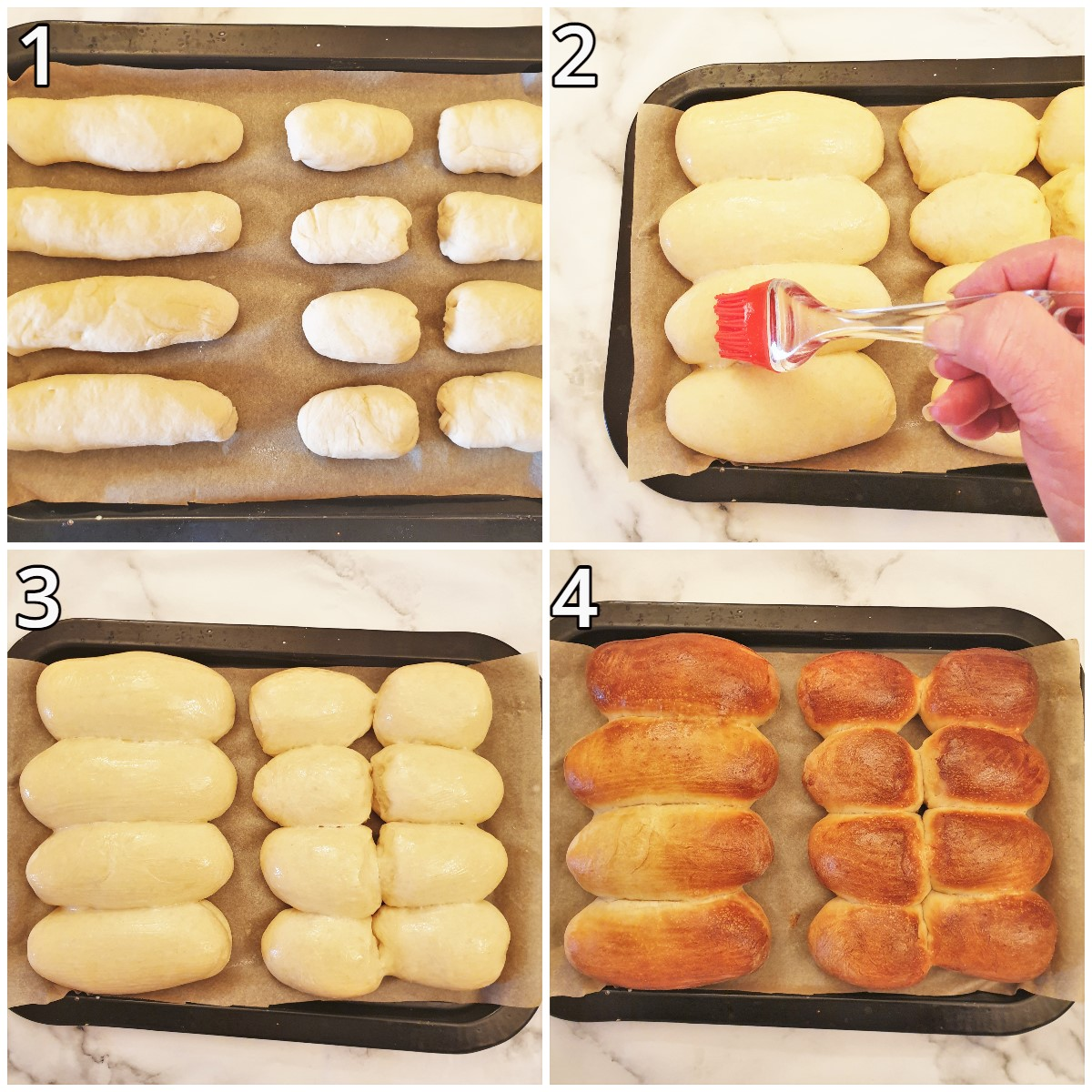 Steps for baking the rolls.