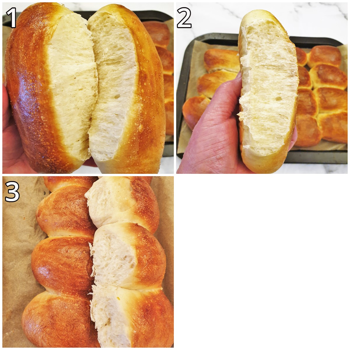 Collage of 3 images showing the inner texture of the rolls.