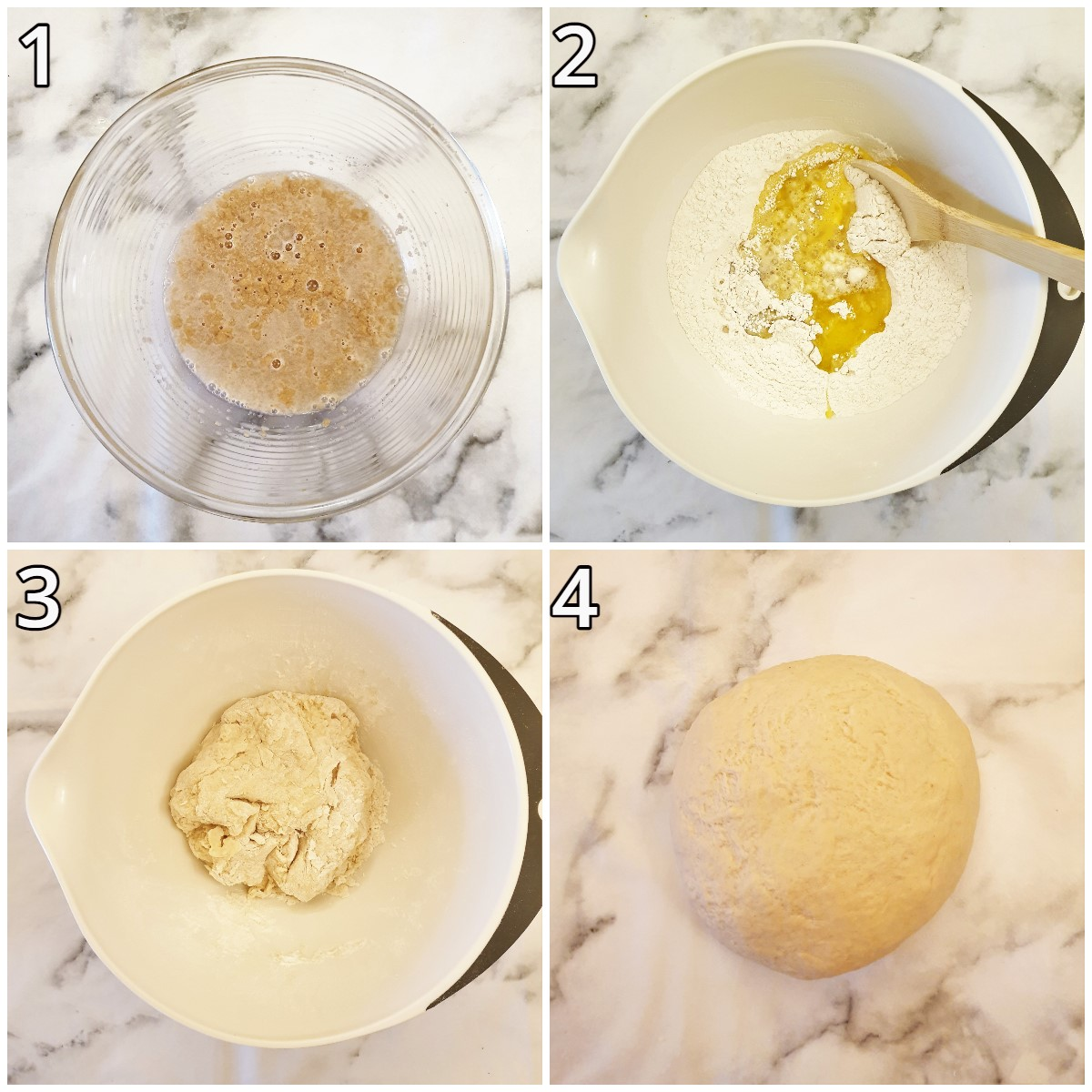 Steps for mixing the dough.