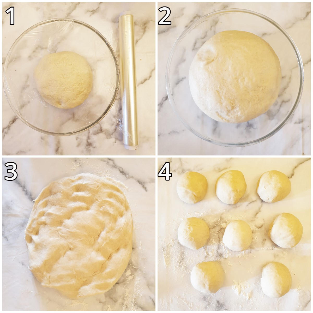 Collage showing the rise of the dough, and how to divide it into balls.