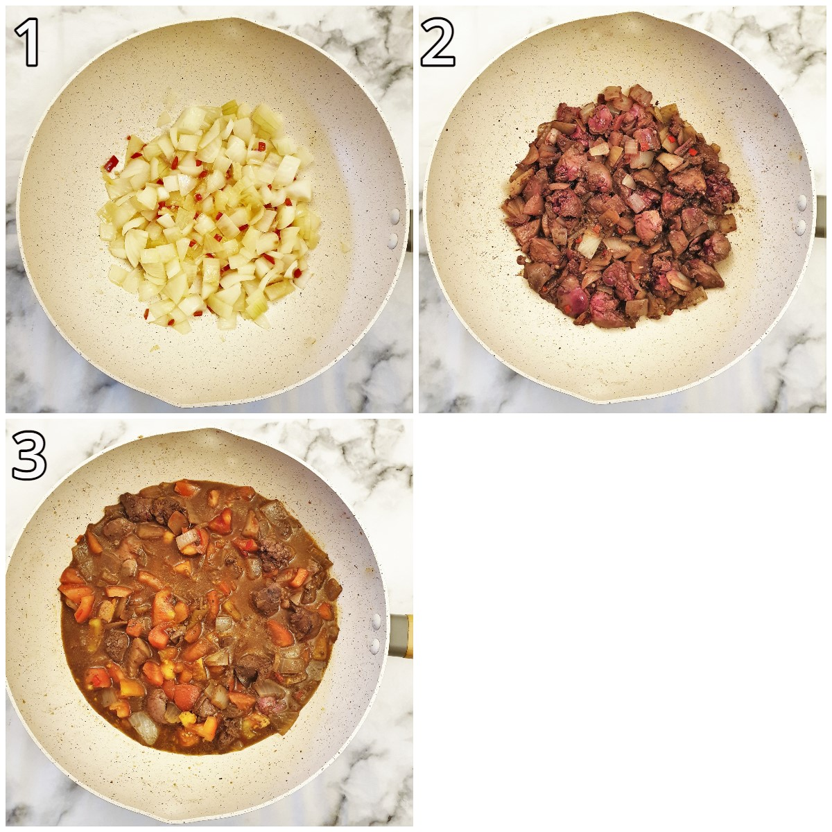 Steps for cooking the chicken livers.