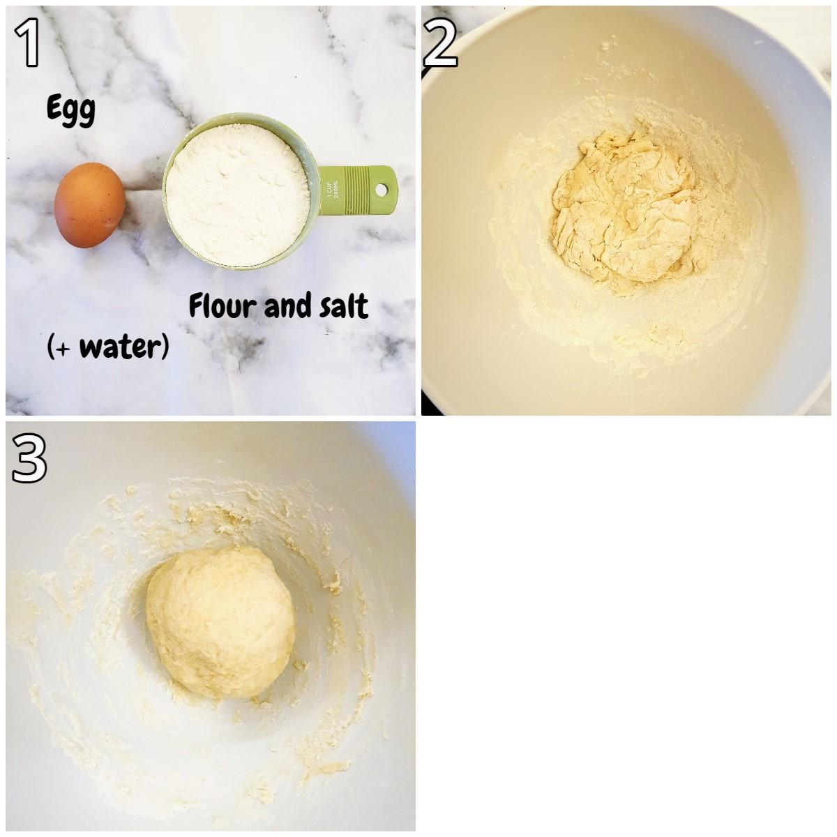Steps for mixing the dumpling dough.