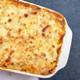 A dish of macaroni and cheese lasagne.
