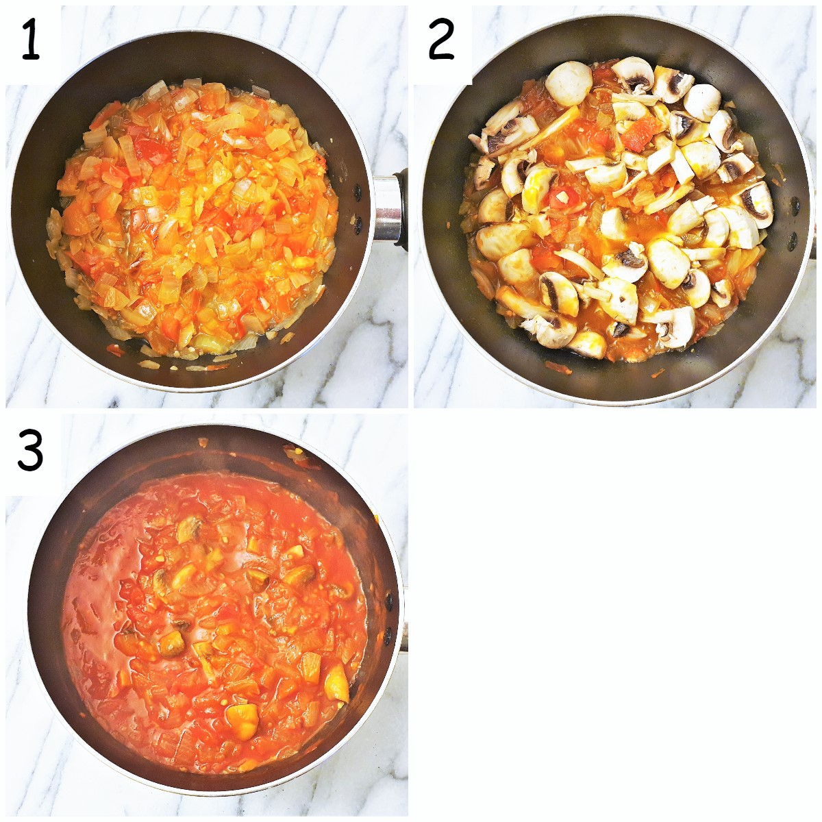 Steps for making the sauce.
