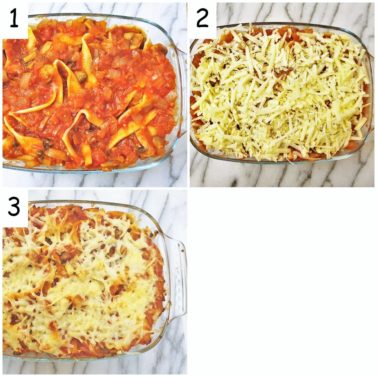 Steps for assembling and baking the meatballs in jumbo pasta shells.