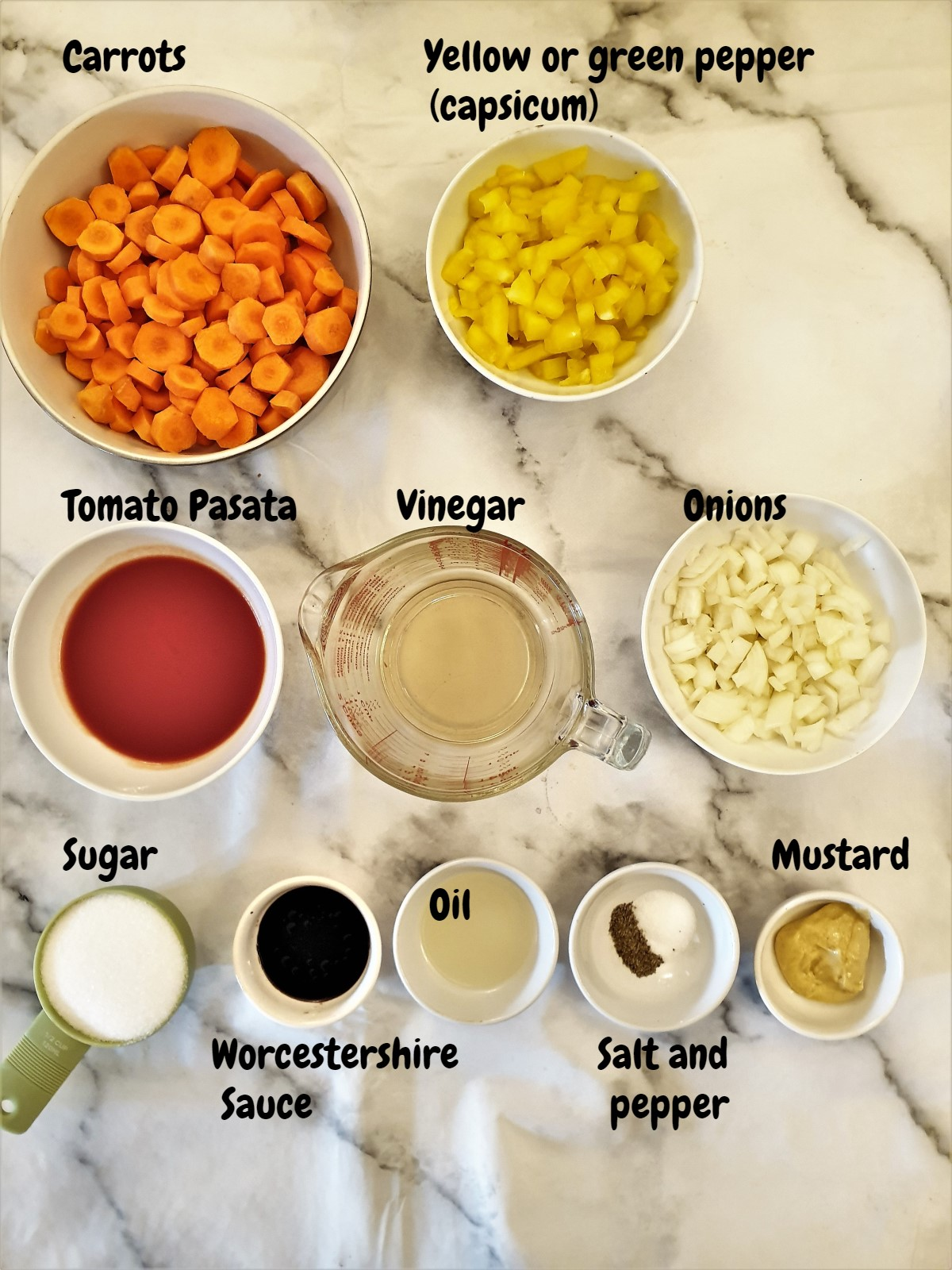 Ingredients for copper penny salad.