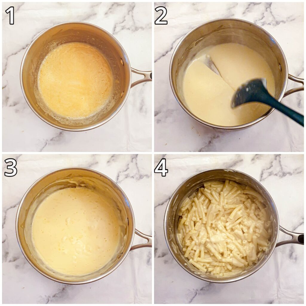 Steps for making the cheese sauce.