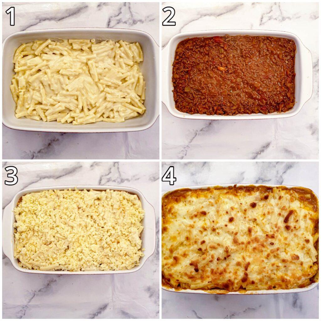 Steps for assembling the lasagne.