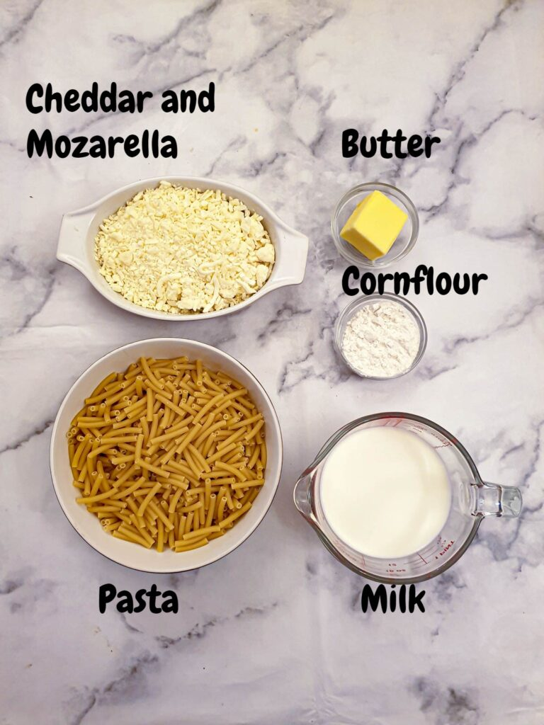 Ingredients for cheese sauce.