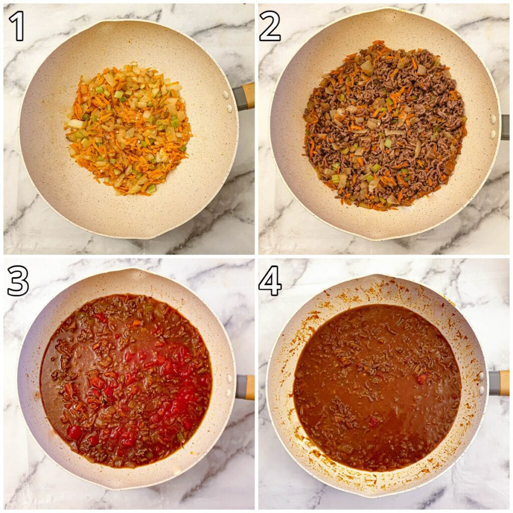 Steps for cooking the mince.