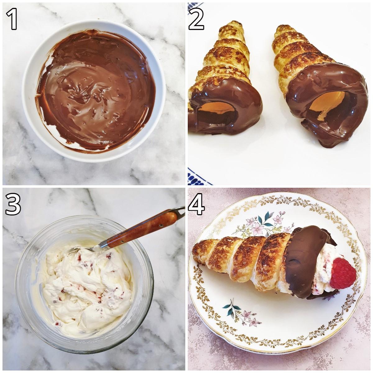 Steps for assembling the cream horns.