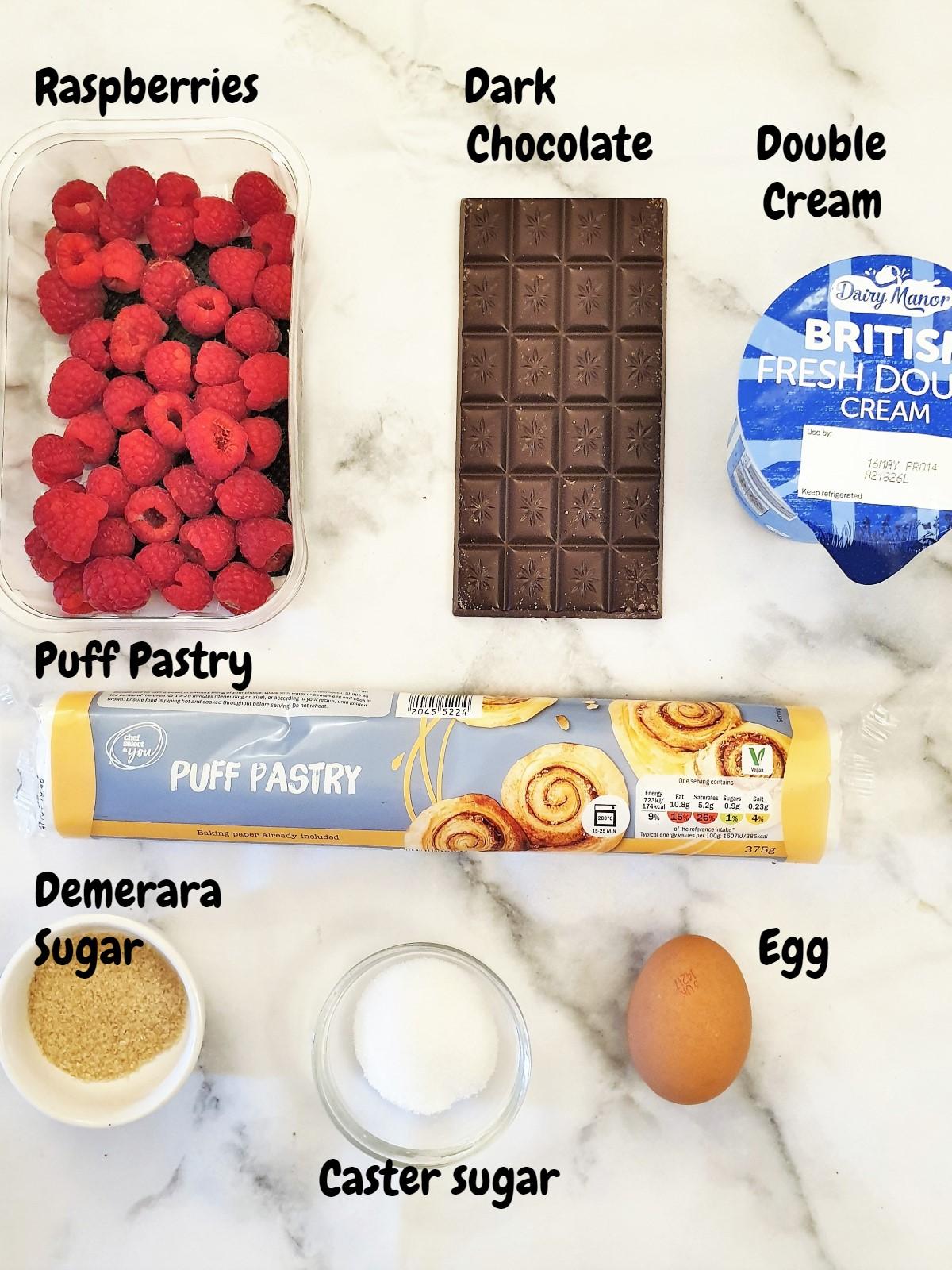 Ingredients for raspberry cream horns.