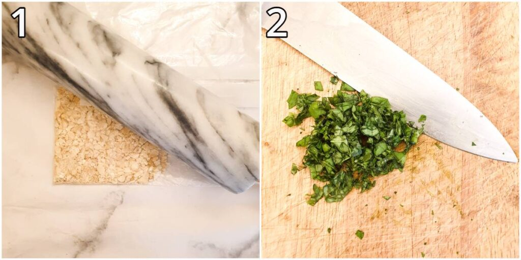 Steps for crushing cashew nuts and chopping basil.