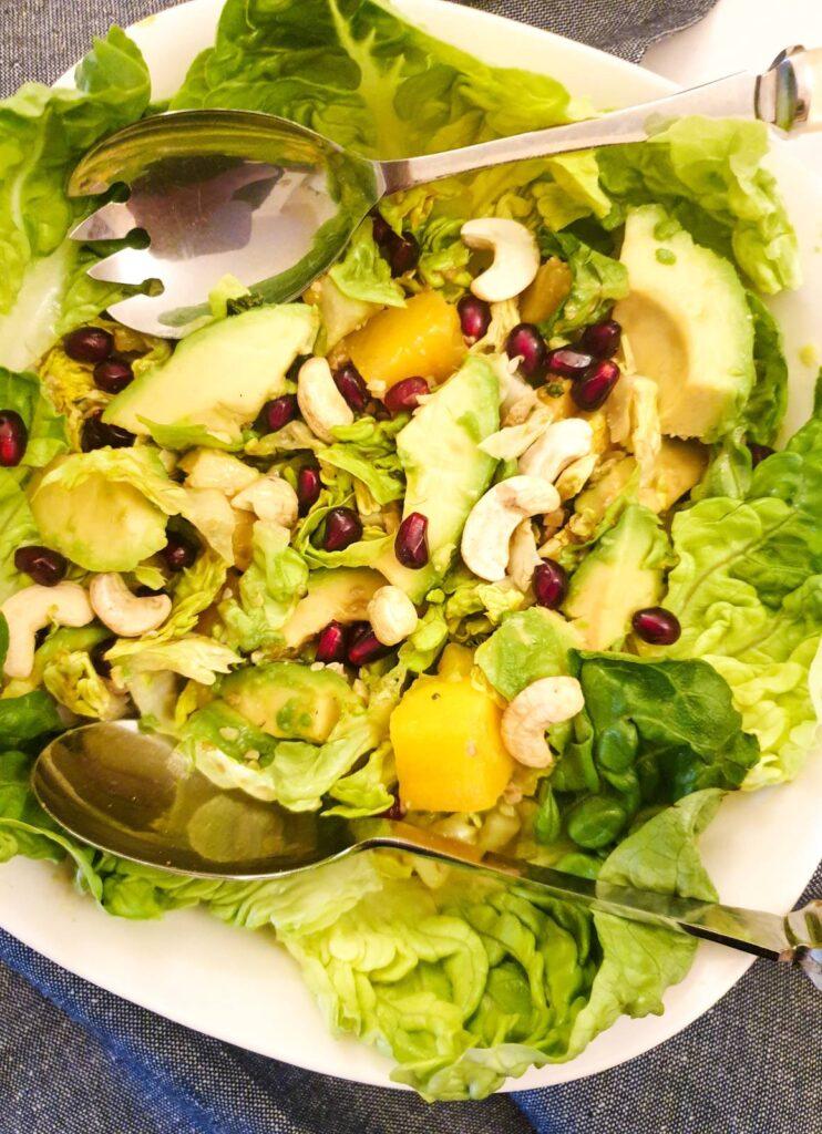 Closeup of a bowl of mango and avocado salad.