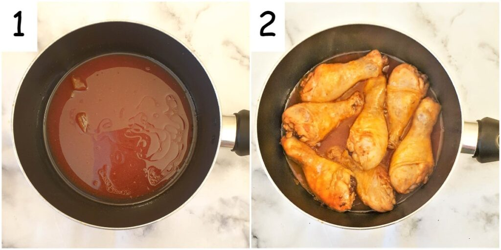 Steps for cooking the chicken in the marinade.