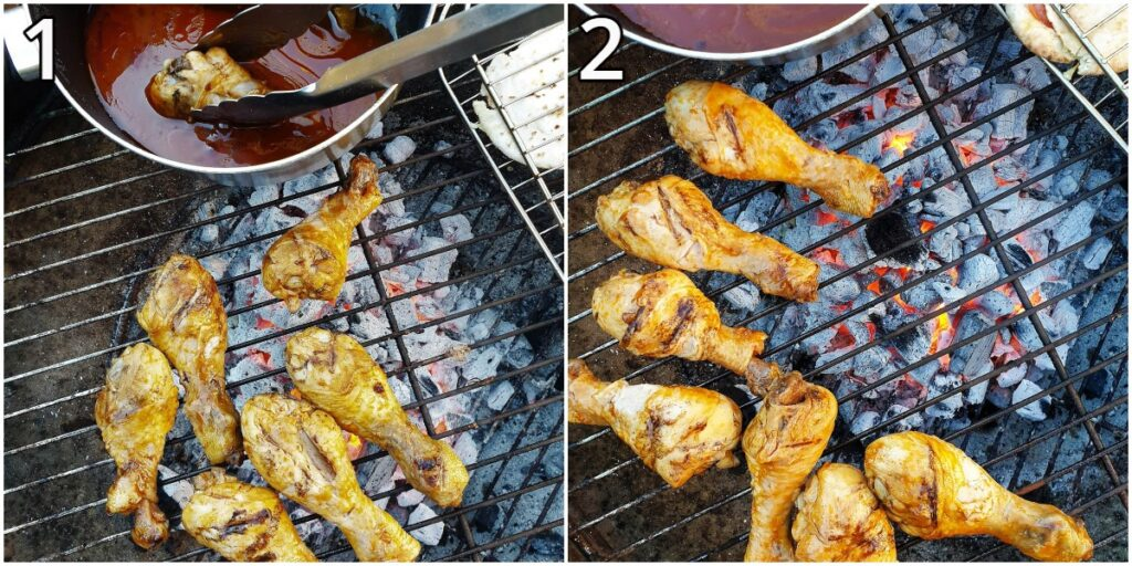 Steps for barbequing the chicken pieces.