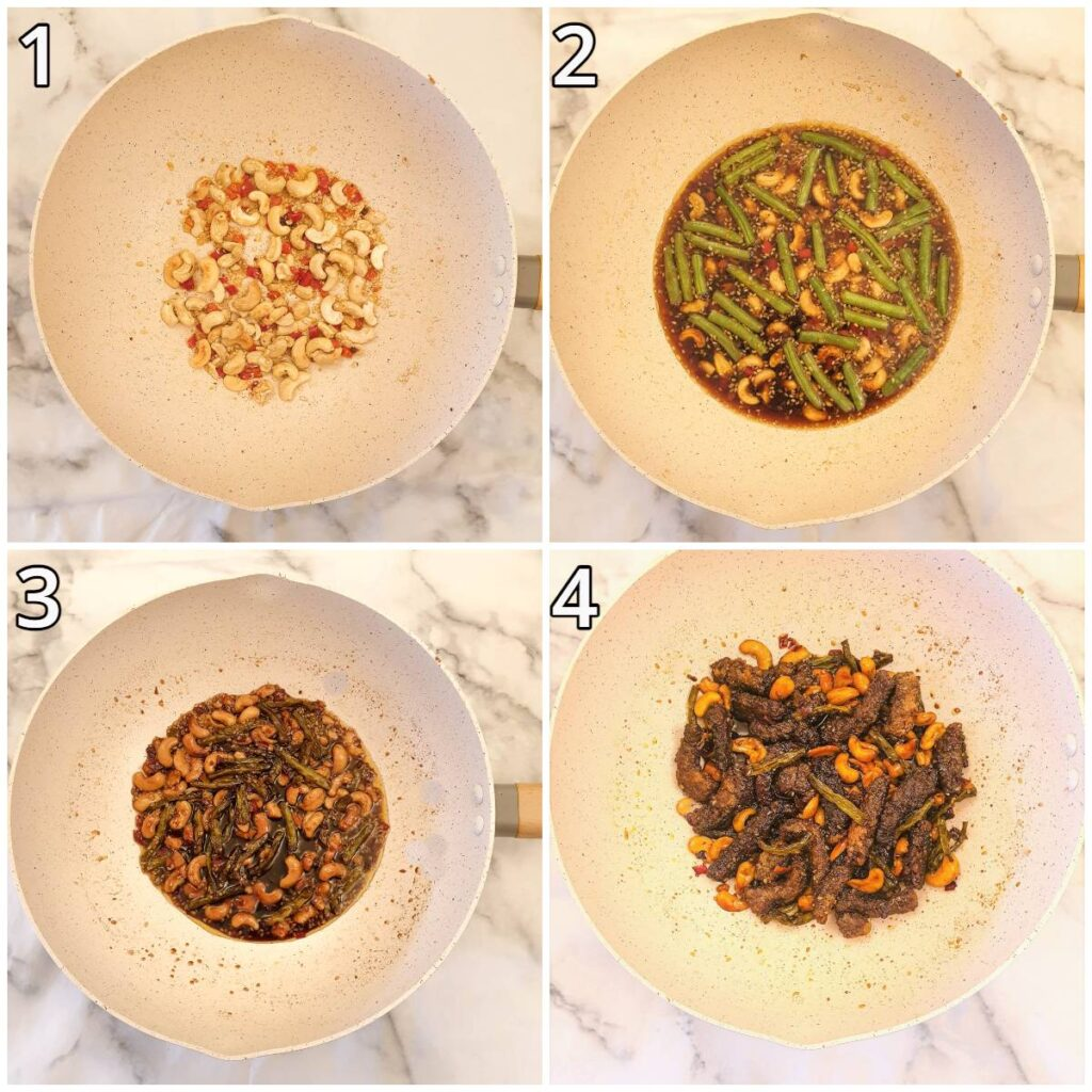 Steps for making the spicy sauce.