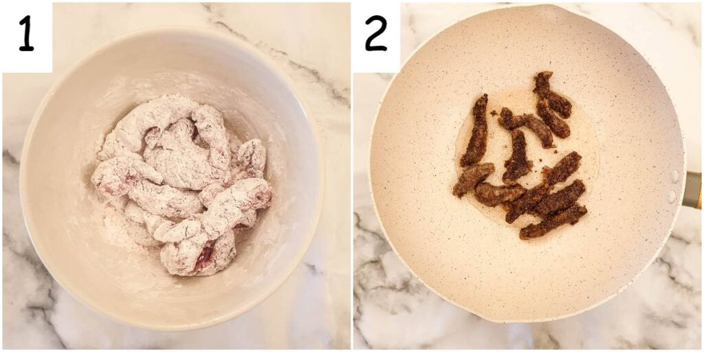 Steps for frying the dragon beef.