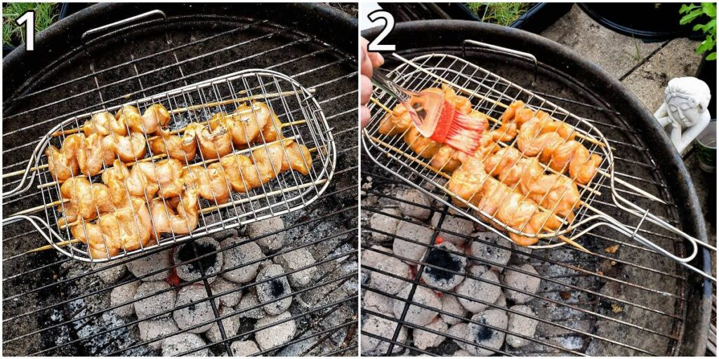 Steps for cooking the chicken skewers on a barbeque.