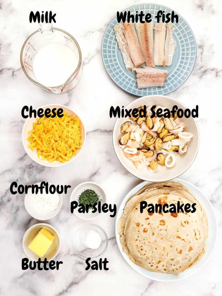 Ingredients for seafood stuffed pancakes.