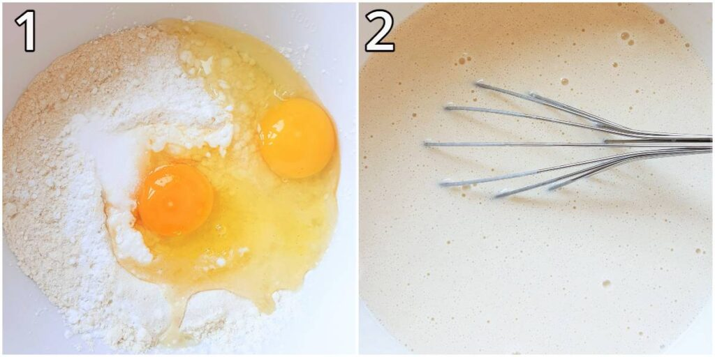 Steps for mixing the pancakes.