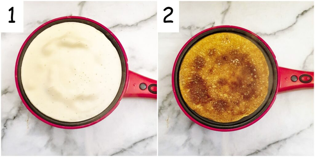 Steps for frying the pancakes in a crepe maker.