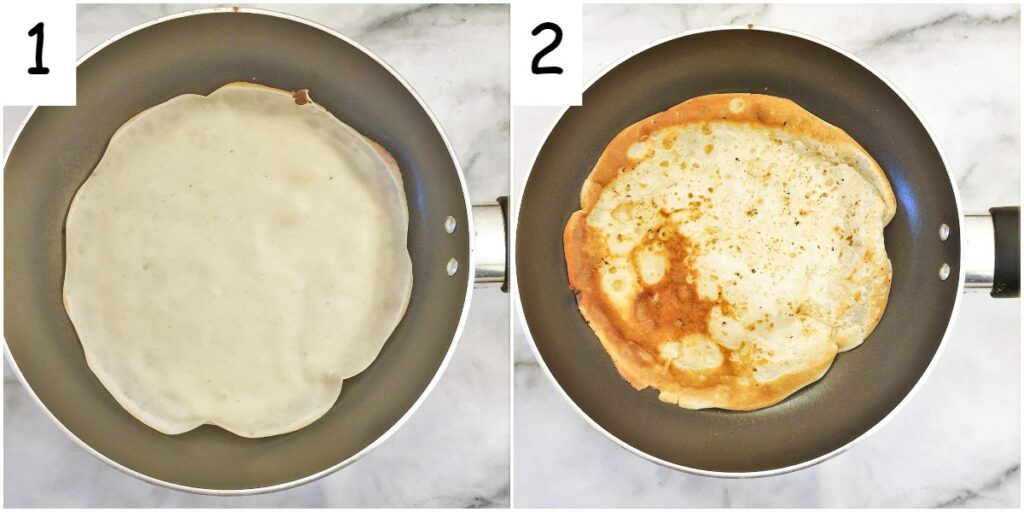 Steps for frying the pancakes in a frying pan.