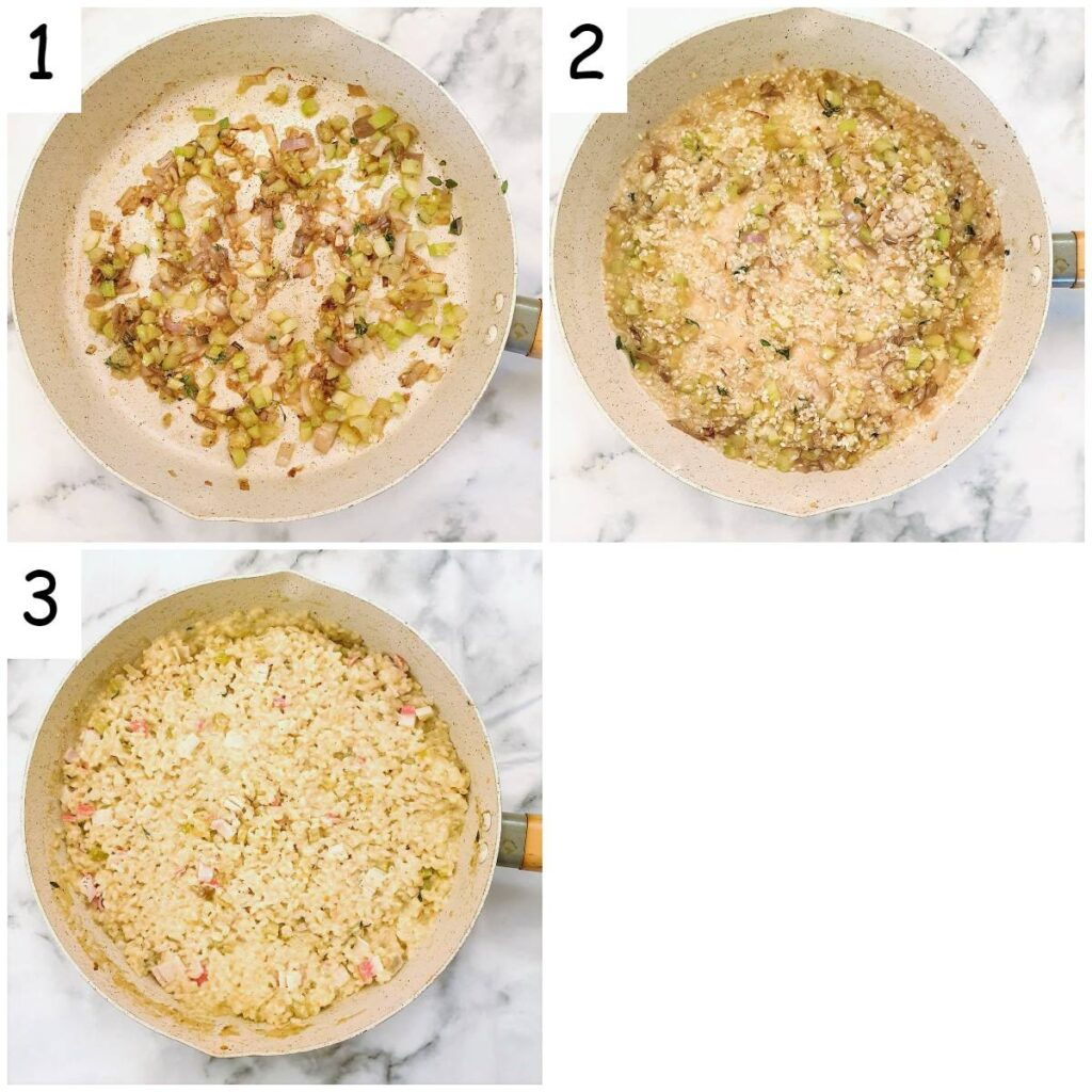 Steps for making the risotto.